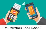 smartphone payment with credit... | Shutterstock .eps vector #664465642