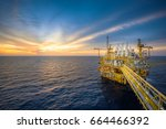 industrial petroleum production ... | Shutterstock . vector #664466392
