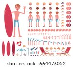 male swimsuit  sport and summer ... | Shutterstock .eps vector #664476052