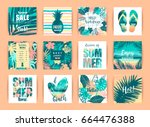 set of summer tropical designs. ... | Shutterstock .eps vector #664476388