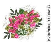 bouquet of pink roses. decor... | Shutterstock .eps vector #664502488