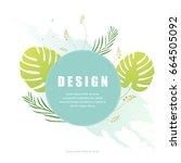 vector floral background design.... | Shutterstock .eps vector #664505092