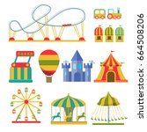amusement park vector flat... | Shutterstock .eps vector #664508206