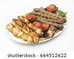 lebanese mixed grill plate... | Shutterstock . vector #664512622