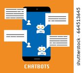 chatbot mobile on orange... | Shutterstock .eps vector #664513645