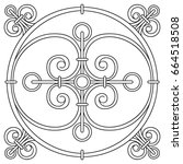 hand drawing pattern for tile... | Shutterstock .eps vector #664518508