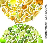 vector fruits and vegetables on ... | Shutterstock .eps vector #664522096