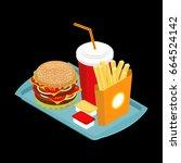 fast food on tray. hamburger... | Shutterstock . vector #664524142