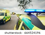 ambulance cars. teams of the... | Shutterstock . vector #664524196