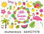 hello summer collection of...   Shutterstock .eps vector #664527478