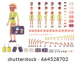 tourist male  vacation... | Shutterstock .eps vector #664528702