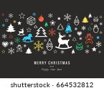 digital vector dark happy new... | Shutterstock .eps vector #664532812
