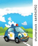 cartoon police car smiling and... | Shutterstock . vector #664541902