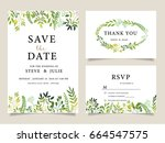 wedding invitation card... | Shutterstock .eps vector #664547575