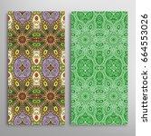 vertical seamless patterns set  ... | Shutterstock .eps vector #664553026