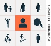 person icons set. collection of ... | Shutterstock .eps vector #664554046