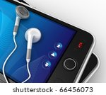 Black smartphones and earphones. No trademark issues because this is my own design. This is a detailed 3D render. - stock photo