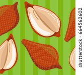 seamless pattern with salacca... | Shutterstock .eps vector #664562602