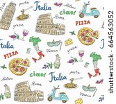 seamless pattern of italy... | Shutterstock .eps vector #664563052