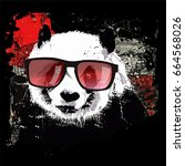 cute panda on grunge background ... | Shutterstock .eps vector #664568026