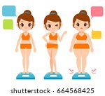 vector different size cute girl ... | Shutterstock .eps vector #664568425