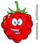happy raspberry fruit cartoon... | Shutterstock .eps vector #664570126