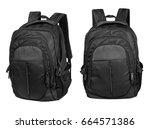 black backpack isolated on... | Shutterstock . vector #664571386