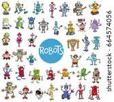 cartoon illustration of robots... | Shutterstock . vector #664574056