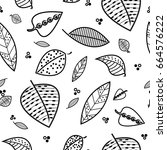 falling leaves seamless pattern | Shutterstock .eps vector #664576222
