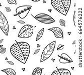 falling leaves seamless pattern | Shutterstock .eps vector #664576222