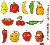 vector image. emoticons food... | Shutterstock .eps vector #664582672