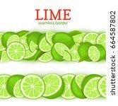 ripe lime horizontal seamless... | Shutterstock .eps vector #664587802