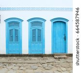paraty  brazil   old town in... | Shutterstock . vector #664587946