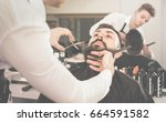 Small photo of Satisfied pleasant male hairdresser accurately cutting beard of client at hair salon