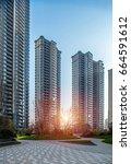 high rise residential building | Shutterstock . vector #664591612