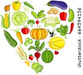 vegetable heart | Shutterstock .eps vector #664594156