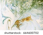 marbled blue  green and gold... | Shutterstock . vector #664600702