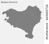 high quality map of basque... | Shutterstock .eps vector #664603726