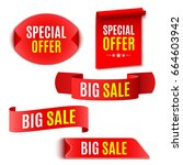 set of red sale banners.... | Shutterstock .eps vector #664603942