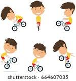 bmx bike rider boy.  bicycle... | Shutterstock .eps vector #664607035