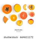 creative layout made of orange... | Shutterstock . vector #664611172