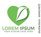 green leaf heart shape ecology... | Shutterstock .eps vector #664614652