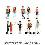 flat illustratuion set of... | Shutterstock .eps vector #664617022