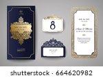 set of wedding invitation... | Shutterstock .eps vector #664620982