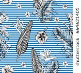 seamless tropical pattern with... | Shutterstock .eps vector #664621405