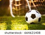 closeup soccer ball on green... | Shutterstock . vector #664621408
