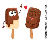 two funny ice cream popsicle... | Shutterstock .eps vector #664625755