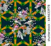 summer design. seamless floral... | Shutterstock . vector #664633978