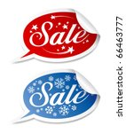 Winter Sale stickers vector set. - stock vector