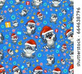 stock vector seamless pattern... | Shutterstock .eps vector #664638796